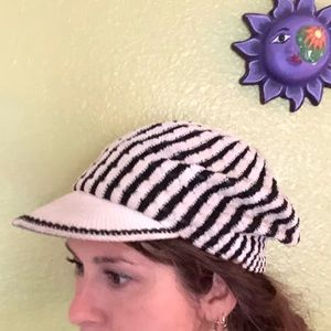 Vintage black and white striped knit baker boy hat